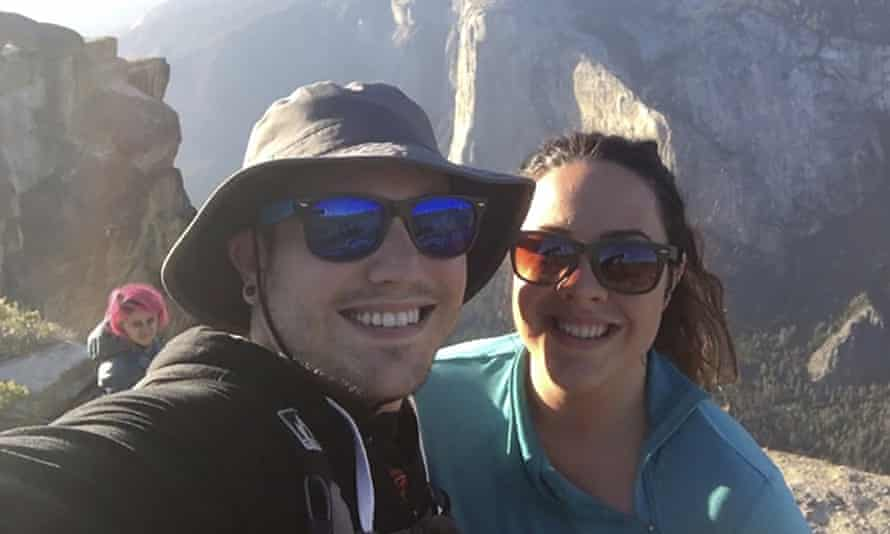 Sean Matteson poses for a selfie with his girlfriend Drea Rose Laguillo. Meenakshi Moorthy is seen in the background at left.
