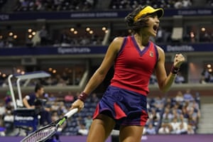 Emma Raducanu, of Great Britain, reacts during her victory against Greece's Maria Sakkari in the semi-finals of the US Open.