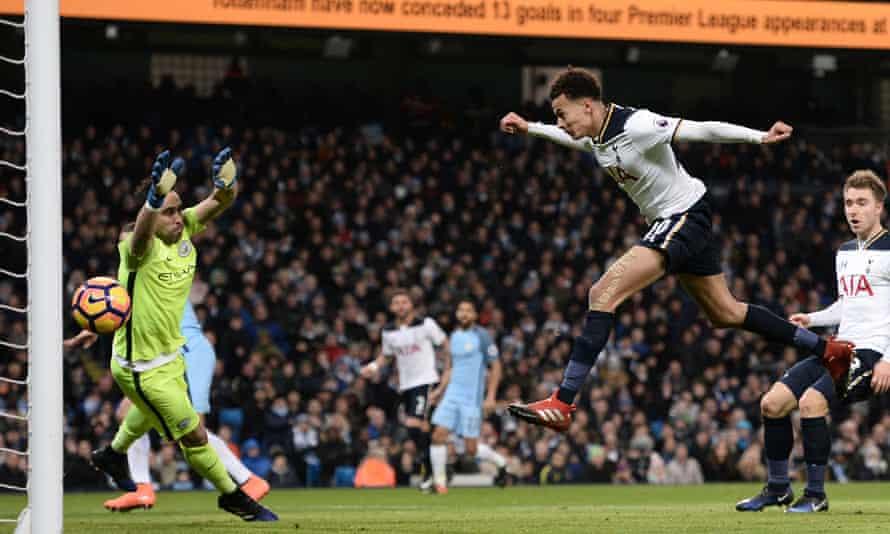 Dele Alli scores, Manchester City v Tottenham Hotspur