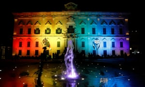 The award for LGBT destination of the year went to Valletta in Malta. To mark Malta Pride Week, rainbow colours lit up the Auberge de Castille.