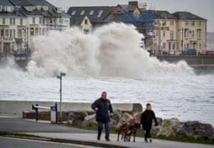 Huge waves hit the sea wall in Porthcawl, Wales