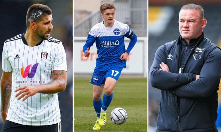 Fulham's Aleksandar Mitrovic; Joe Tomlinson playing for Eastleigh; Derby's manager Wayne Rooney.