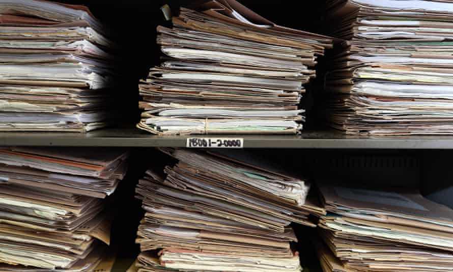 Medical records in a GP surgery in London, 2014