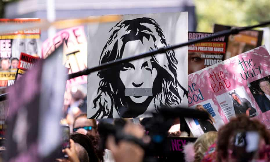A #FreeBritney protest outside Spears' conservatorship hearing in Los Angeles last month.