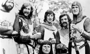 Eric Idle (second left) with his Monty Python comrades in Monty Python and the Holy Grail
