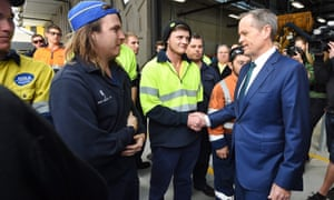 Bill Shorten greets workers at an automotive Tafe campus in Adelaide, where he announced Labor's plan to ensure one in 10 workers on large federal projects were apprentices.