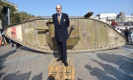 Nicholas Soames stands next to a replica of the first world war Mark IV tank, September 2016.