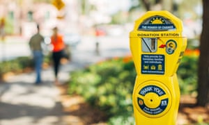 """The Power of Change homeless initiative in St Petersburg, Florida, repurposed parking meters as 'donation stations"""" to help the homeless."""