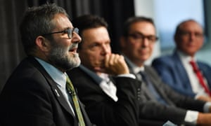 Greens leader Mark Parnell, SA-Best leader Nick Xenophon, Liberal leader Steven Marshall and premier Jay Weatherill at the environment debate.