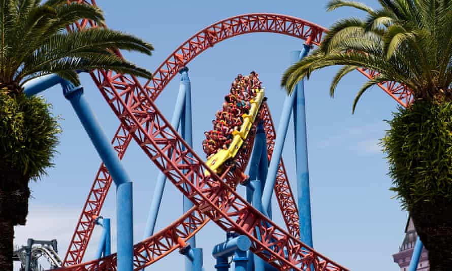 A roller coaster at Warner Brothers Movie World theme park on the Gold Coast,