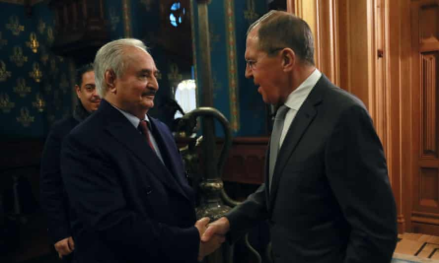 Gen Khalifa Haftar (left) meets the Russian foreign minister, Sergei Lavrov, in Moscow