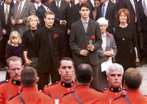 Justin Trudeau (third from right) and other family members at his father Pierre Trudeau's state funeral in Montreal in 2000.