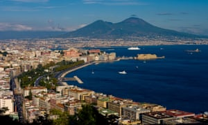 Naples, setting of Ferrante's novels, with Versuvius in the background.