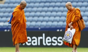 Buddhist monks on the pitch at the King Power Stadium.