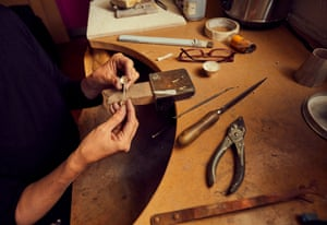 'The workstation is called a jeweller's bench and incorporates a bench peg which can be built in but I prefer this type which I can clamp on and off. It's great for jewellery but if I'm doing silversmithing and the piece is large it can sometimes get in my way.'