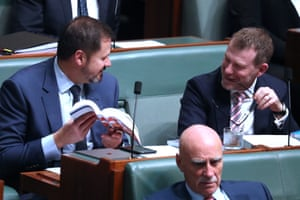 Nick Champion and Ed Husic during question time.
