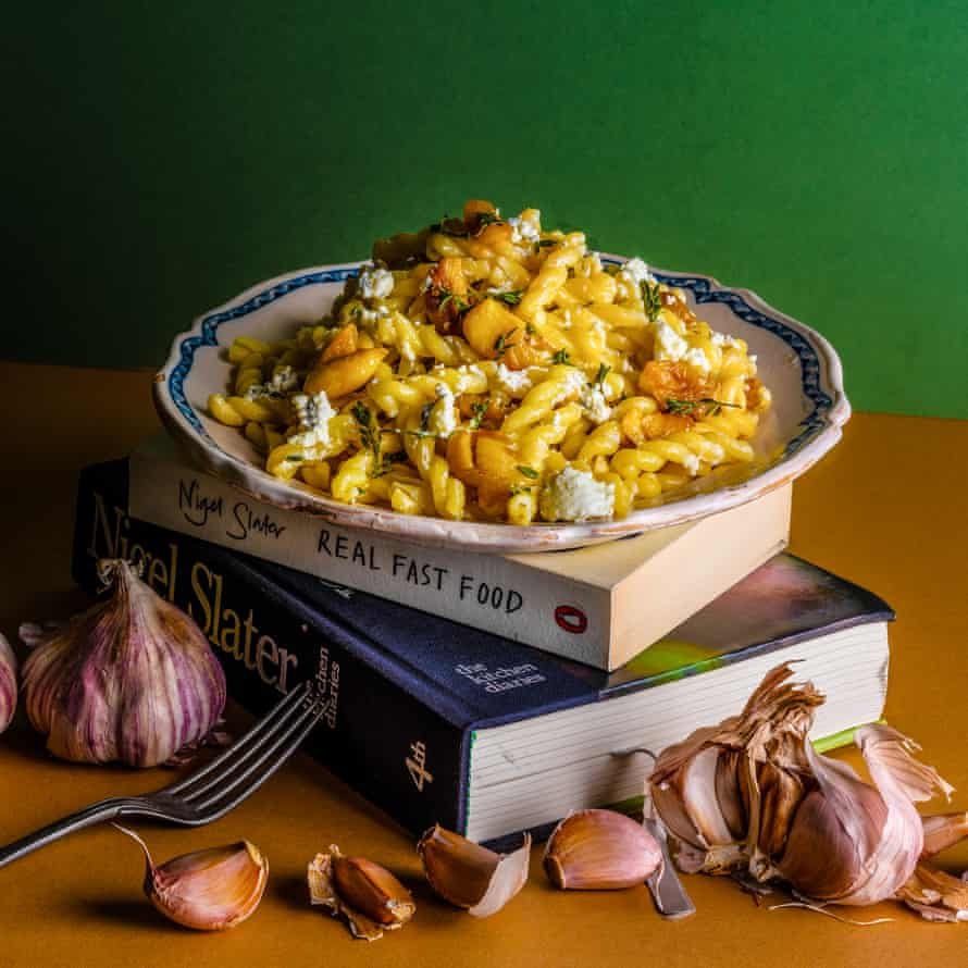 Nigel Slater's pasta with whole garlic, goat's cheese and thyme Chosen by Olia Hercules The Dish I Can't Live Without Food and prop styling: Polly Webb Wilson Observer Food Monthly OFM January 2018