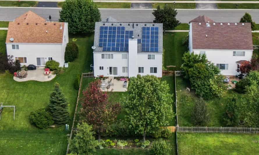 An aerial photo taken with a drone shows solar panels installed on a private home in Round Lake Heights, Illinois.
