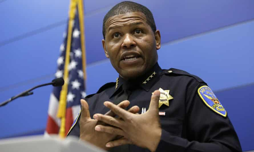 San Francisco police chief William Scott answers questions during a news conference.