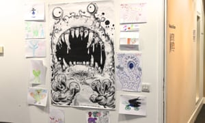 Monster Mayhem posters at the Guardian Education Centre Cartoon and art family day 17 November 2018