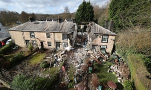 Bury, England. The scene in Ramsbottom, Bury, Greater Manchester, where the body of a woman has been found after a house collapsed on Wednesday evening