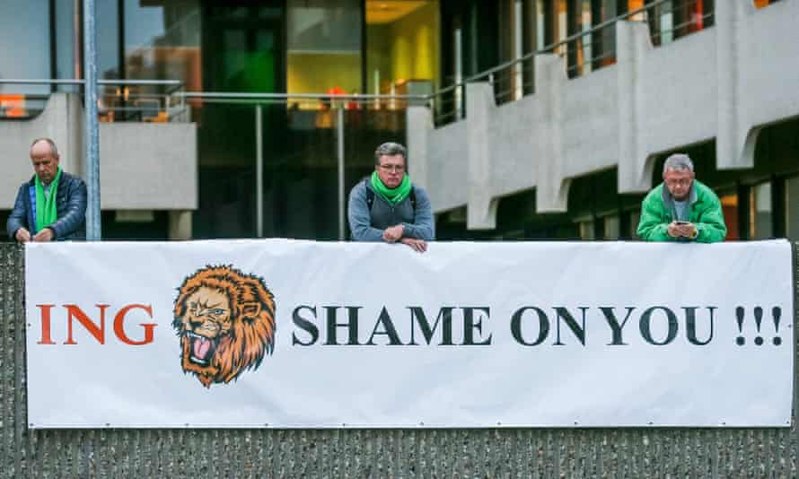 Disgruntled workers outside ING Belgium's head office in Brussels.