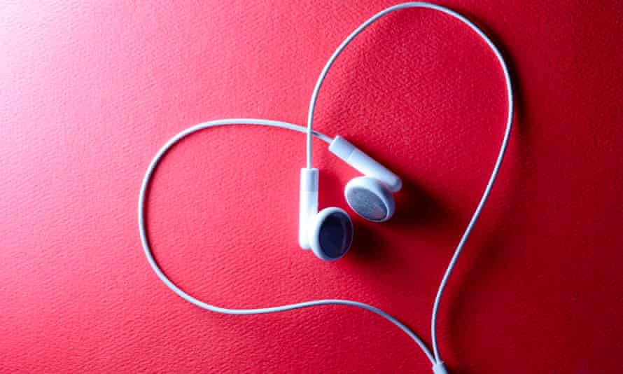 A pair of headphones in a heart-shape.