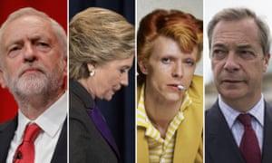 Jeremy Corbyn, Hillary Clinton, David Bowie and Nigel Farage