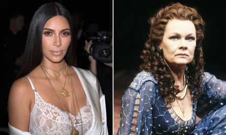Kim Kardashian, left, and Cleopatra, as played by Judi Dench, right.