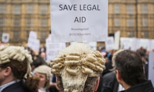 A Westminster protest against cuts to legal aid