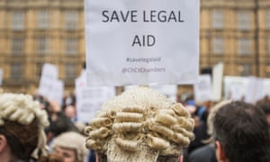 A protest against cuts to legal aid in the UK