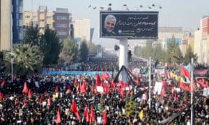 A funeral procession for Qassem Suleimani in Kerman, Iran, January 2020