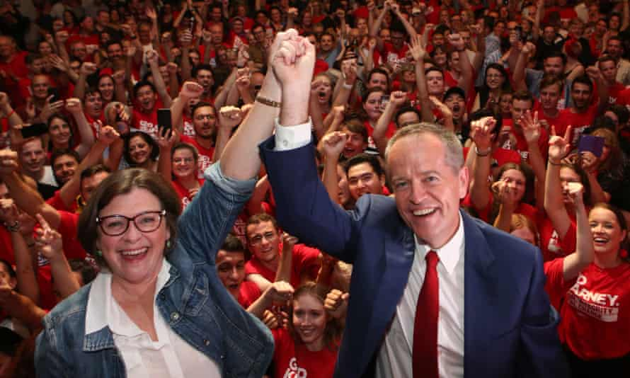 Ged Kearney and Bill Shorten celebrates her federal byelection win in Batman on Saturday night