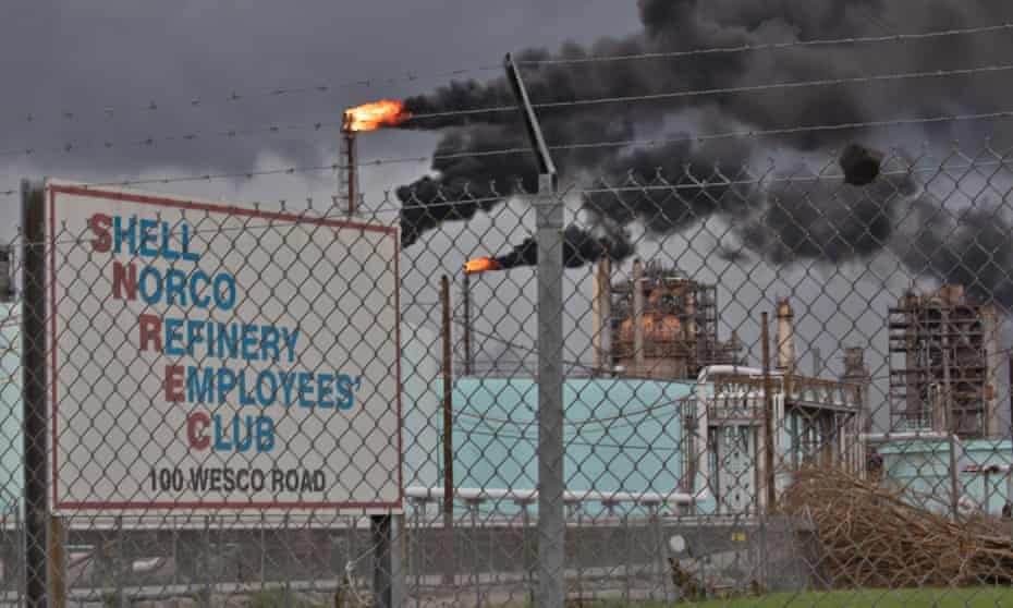 Black smoke rises from Shell's petrochemical plant in Norco, Louisana, after Hurricane Ida knocked out the facility's power.