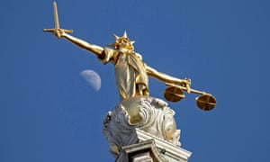 The statue of justice at the Old Bailey in London