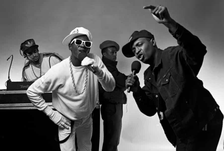 Public Enemy, from left to right: Terminator X, Flavor Flav, professor Griff and Chuck D.