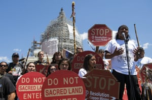 Tribal councilman Wendsler Nosie, Sr. speaks with Apache activists in a rally to save Oak Flat back in 2015.