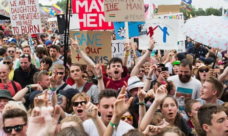 Young people listen to Jeremy Corbyn at this year's Glastonbury festival.