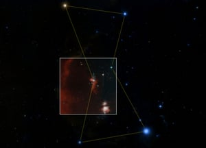 The nebula forms the brightest spot in the sword of Orion, in the constellation of the hunter.