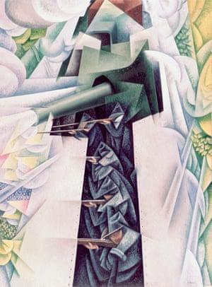 Futurist battle ... Severini's depiction of a first world war military train.