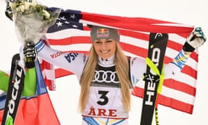Lindsey Vonn celebrates her podium place in her final ever race. She retires with 82 World Cup wins, a women's record