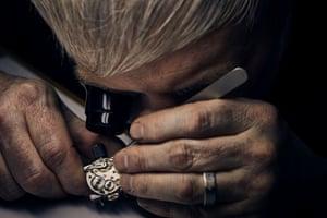 Craig at the bench restoring a 1920s Rolex Rebberg wristwatch.