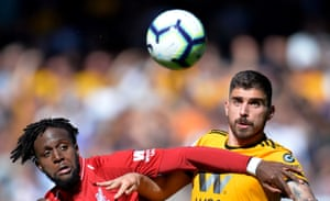 Divock Origi battles Rúben Neves for possession as Liverpool win the match 2-0 thanks to a brace from Sadio Mane.