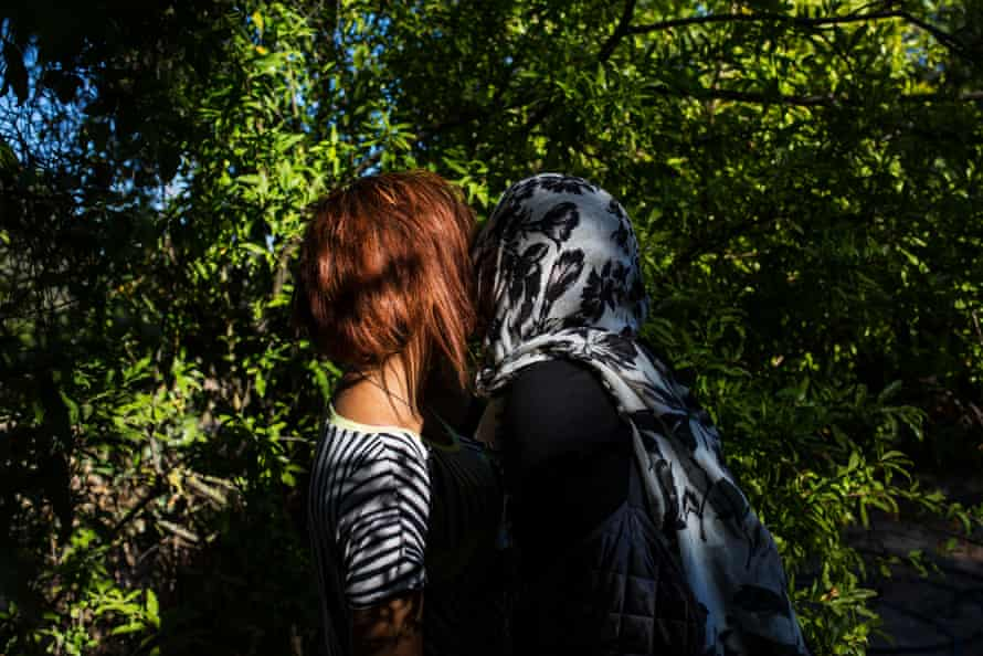 Fatima, 13, from Iraq, with her mother, Shamsa