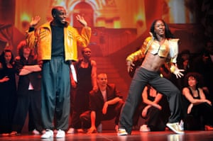 Teneisha Bonner, right, with Roger Davies in Into the Hoods at the Novello, 2008.