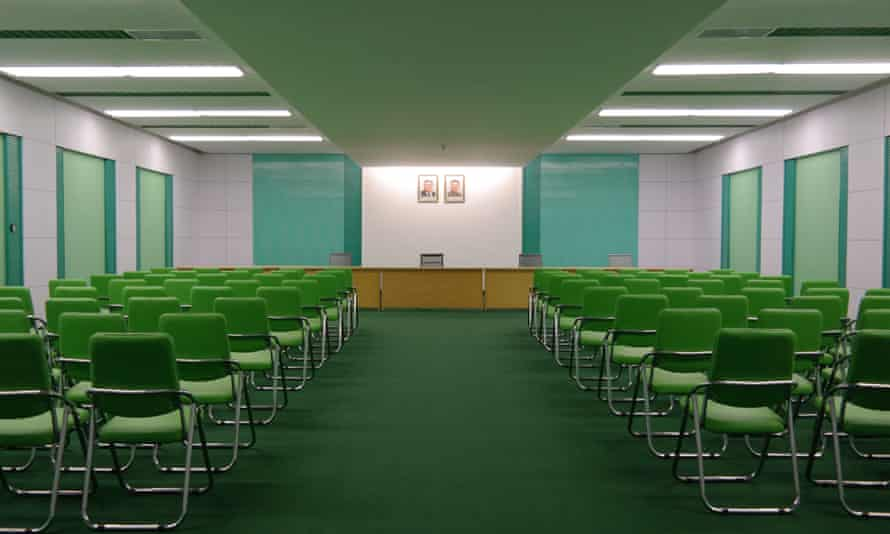 A conference rooms at the newly renovated May Day Stadium.