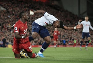 Tottenham's Serge Aurier fouls Sadio Mané to concede a penalty which Mo Salah converted in Liverpool's win at Anfield.