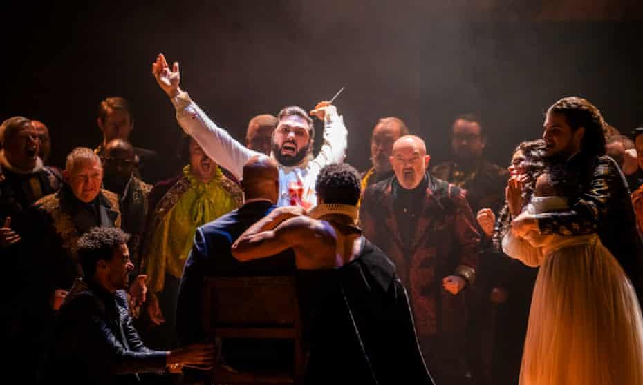 Liparit Avetisyan, centre, as the Duke of Mantua in Rigoletto at the Royal Opera House.