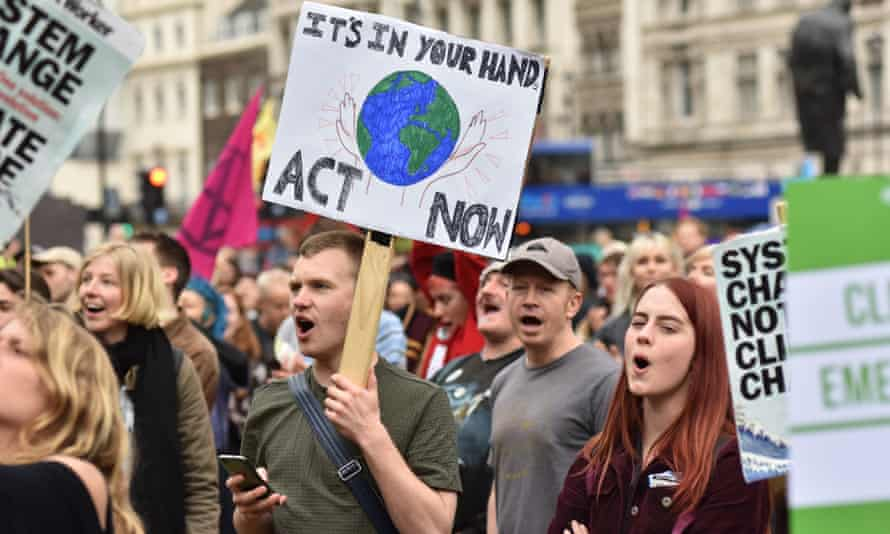 Protesters in Parliament Square on 1 May, urging the government to declare a climate emergency.