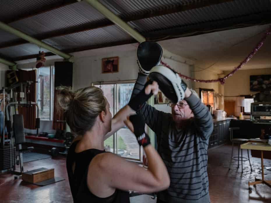 Peter Hill trains a newcomer at his gym in Fryerstown, Victoria.